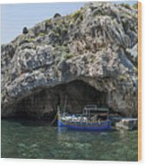 Caroline Cave And Maltese Traditional Boat Wood Print