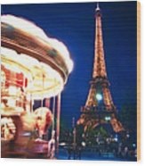 Carousel And Eiffel Tower Wood Print by Elena Elisseeva