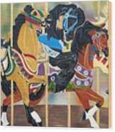 Carousel Beauties Wood Print