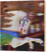 Carousel Horse In Motion Wood Print