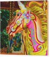 Carousel Horse London Alfie England Wood Print