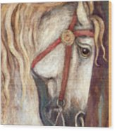 Carousel Horse Painting Wood Print