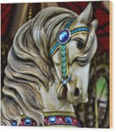 Carousel Horse  Wood Print by Paul Ward