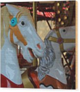 Carousel Horses At A Fair Wood Print