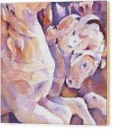 Carousel Horses Wood Print by Joan  Jones