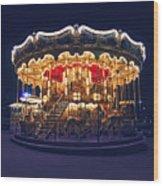 Carousel In Paris Wood Print
