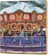 Carousel Inside The Mall Wood Print
