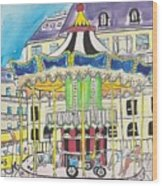 Carousel Paris Illustration Hand Drawn Wood Print