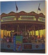 Carousel Sunset Wood Print