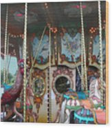 Carousel With Mirrors Wood Print