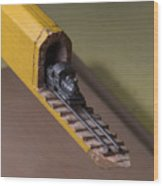Carpenter Pencil Carved Into A Train By Cindy Chinn Wood Print