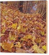 Carpet Of Fall Leaves Wood Print