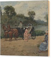 Carriage Ride By The River Wood Print
