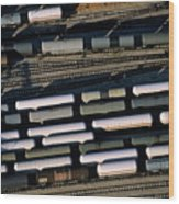 Carriages Of Freight Trains On A Commercial Railway Wood Print