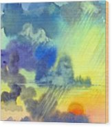 Carribean Rain At Sunset Wood Print