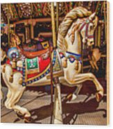Carrousel Horse Ride Wood Print