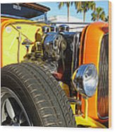 Cars - 1932 Ford Roadster Hot Rod - Engine And Tire Close Up Wood Print