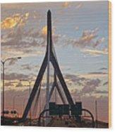 Cars On The Move- Lenny Zakim Bridge Sunset Wood Print