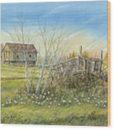 Cart And Barn On A Spring Day Wood Print