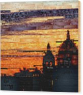 Cartagena Colombia Night Skyline Wood Print
