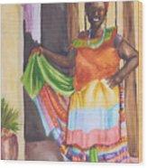 Cartegena Woman Wood Print
