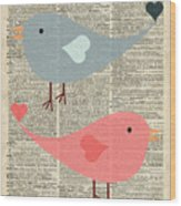 Cartoon Birds In Love  Wood Print