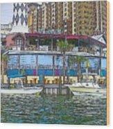 Cartoon Boats Wood Print