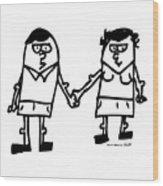 Cartoon Couple Wood Print