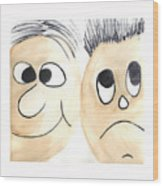 Cartoon Faces Wood Print