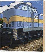 Illustrated Train Wood Print