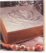 Carved Box In Aluminum. Silver Box And Red Necklace Wood Print