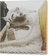 Carved Stone Buddha Statue Wat Temple Complex In Old Siam Kingdom, Ayutthaya, Thailand Wood Print