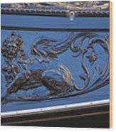 Carving On Gondola In Venice Wood Print
