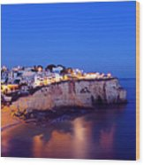 Carvoeiro In The Algarve Portugal At Night Wood Print