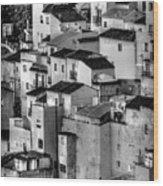 Casares Pueblo. Black And White Wood Print