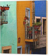 Casas In Mint Terracotta And Blue Wood Print