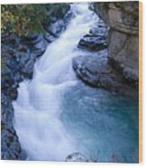 Cascade In The Maligne Canyon Wood Print