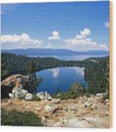 Cascade Lake And Lake Tahoe Wood Print by Troy Montemayor