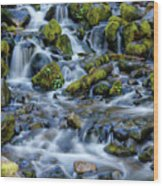 Cascade Of Many Waters Wood Print
