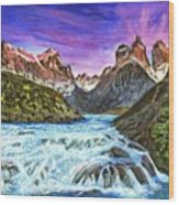 Cascades In Patagonia Painting Wood Print
