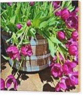 Cascading Purple Tulips  Wood Print