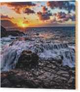 Cascading Water At Sunset Wood Print