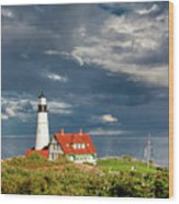 Casco Bay Lookout Wood Print
