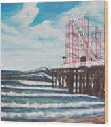 Casino Pier N.j. Wood Print