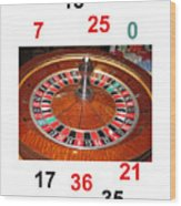 Casino Roulette Wheel Lucky Numbers Wood Print