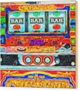 Casino Slot Machine . One Arm Bandit . Triple Bar Bonus Jack Pot Wood Print by Wingsdomain Art and Photography