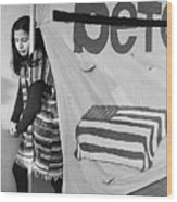 Casket On Banner Young Girl Anti Gulf War Rally Tucson Arizona 1991 Wood Print
