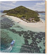 Castaway Island Aerial Wood Print