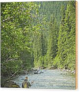 Casting To Cutthroats On The Oldman River Wood Print