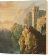 Castle And Waterfall Wood Print